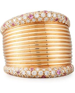 18k Rose Gold Wide Band Ring W/ Diamonds & Pink Sapphires