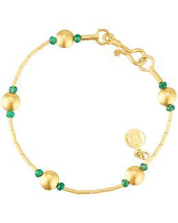 24k Lentil Rain Bracelet W/ Emeralds
