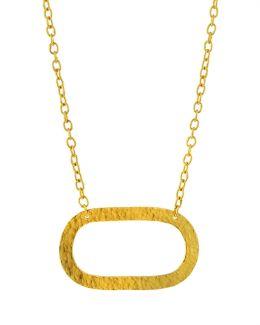 Mango 24k Open Oval Pendant Necklace
