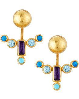 24k Multi-gemstone Front-back Drop Earrings