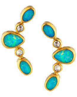 24k Opal & Gold Crawler Earrings