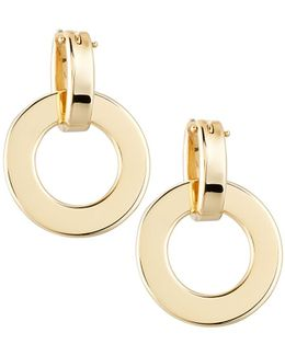 18k Yellow Gold Round Drop Earrings