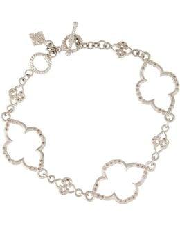 New World Scroll Station Link Bracelet W/ Champagne Diamonds