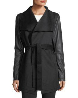 Faux-leather Sleeve Wool Wrap Jacket