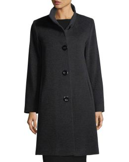 Button-front Wool-blend Coat