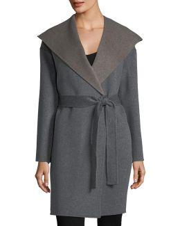 Cashmere-blend Double-face Hooded Wrap Coat