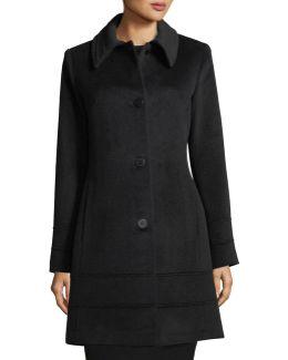 Spread-collar Wool Coat