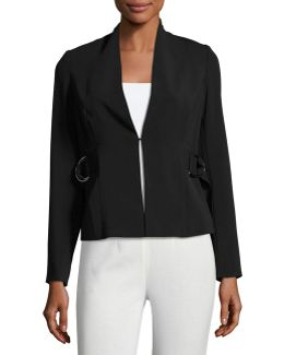 Buckle-strap Crepe Jacket