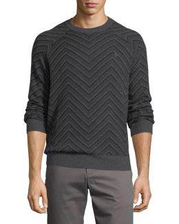 Chevron Textured Wool-blend Sweater