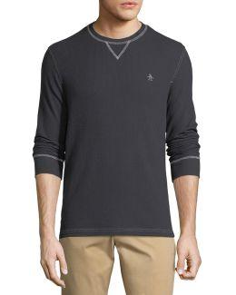 Waffle-knit Cotton-blend Shirt