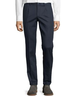 Pleated-front Twill Pants