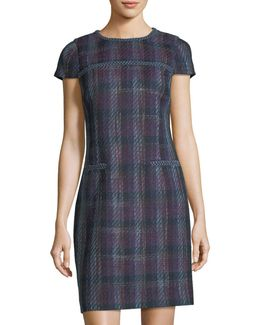 Plaid Tweed Dress W/ Braided Trim
