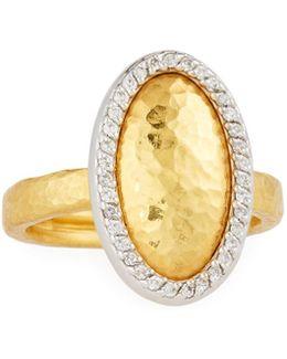 Jordan 24k Two-tone Oval Diamond Ring