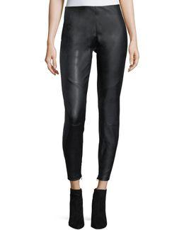 Faux-leather Moto Pants