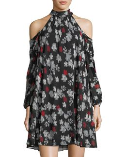 Cold-shoulder Printed Chiffon Trapeze Dress