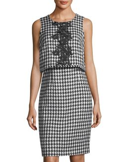 Houndstooth Popover Sleeveless Dress