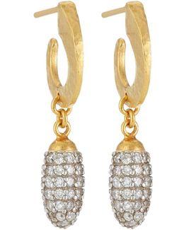 Cocoon 24k Pave Diamond Hoop Drop Earrings