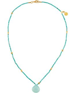 Single-strand Turquoise & Chalcedony Beaded Necklace