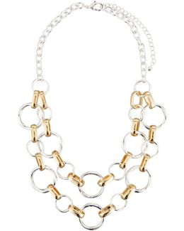 Classic Two-tone Circle Link Double-row Necklace