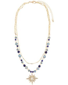 Beaded Crystal Necklace W/ Starburst Pendant