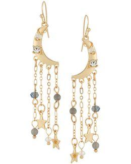 Moon Dangle Earrings W/ Crystals