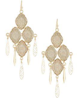 Filigree Glitter Paper Statement Earrings