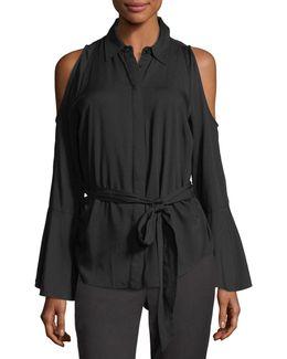 Tie-waist Cold-shoulder Blouse