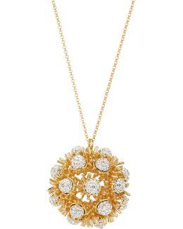 Dandelion Crystal Fireball Long Pendant Necklace