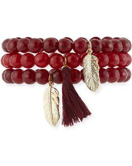 Burgundy Stone & Tassel Stretch Bracelets