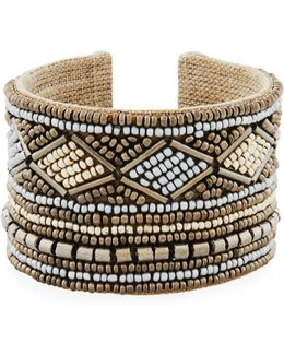 Wide Mixed Seed Bead Cuff Bracelet