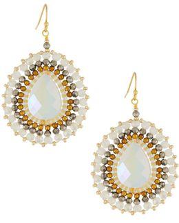 Crystal Beaded Circular Drop Earrings