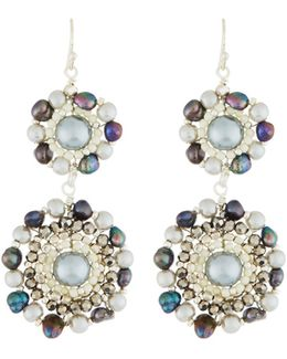Gray Crystal & Pearl Double-circle Drop Earrings