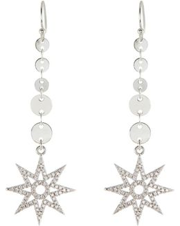 North Star Disc Chain Drop Earrings