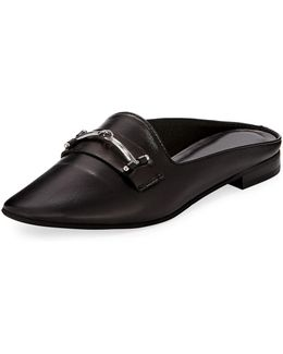 Melody Leather Flat Loafer Mule W/ Bit Detail