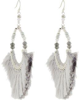 Gray Fringe & Semi-round Beaded Earrings