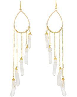Teardrop Earrings W/ Quartz Dangle Fringe