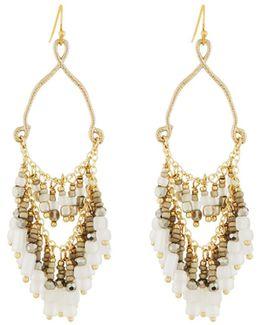 Teardrop Earrings W/ Beaded Fringe