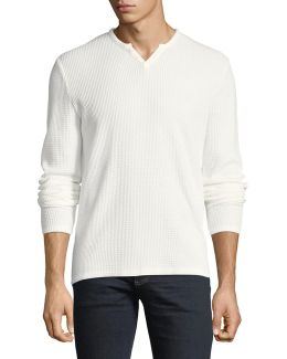 Waffle-knit Long-sleeve Henley