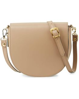 Leather Zip-gusset Saddle Bag