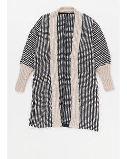 Tolo Knit Trim Long Cardigan