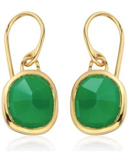 Vermeil Green Onyx Siren Wire Earrings