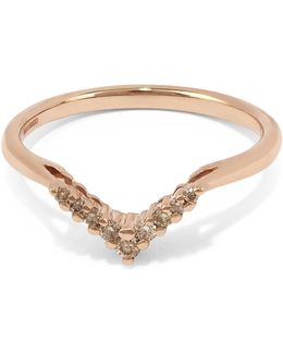 Rose Gold Petite Chevron Champagne Diamond Ring