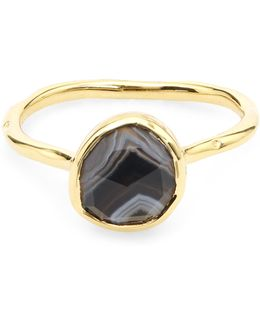 Gold-plated Black Line Onyx Siren Stacking Ring