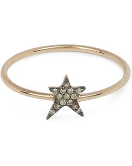 Rose Gold Struck Single Small Star Champagne Diamond Ring