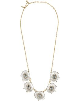 Gold Quartz And Crystal Small Bib Necklace