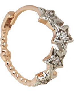 Rose Gold And White Diamond Geometry Star Single Hoop Earring