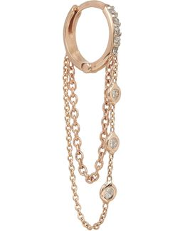 Rose Gold And White Diamond Chain Single Hoop Earring