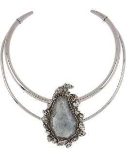 Labradorite Double Band Choker Necklace
