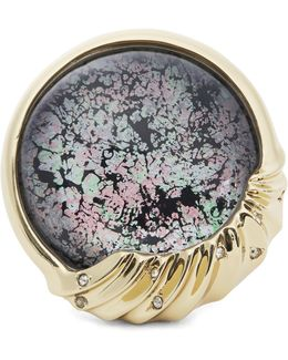 Gold-plated Abalone Patterned Ring