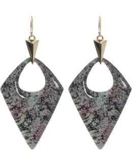 Abalone Patterned Lucite Drop Earrings